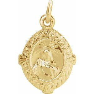 14K Yellow 12x9 mm Sacred Heart of Jesus Medal