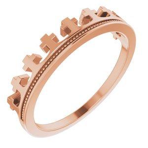 14K Rose Cross Crown Ring