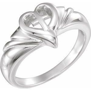 Sterling Silver Heart & Cross Ring