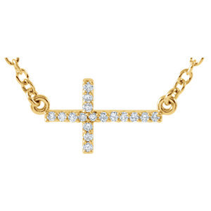 "14K Yellow .08 CTW Diamond Sideways Cross 16-18"" Necklace"