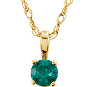"14K Yellow Imitation Emerald ""May"" Birthstone 14"" Necklace"
