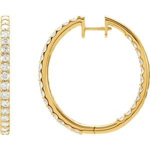 14K Yellow 3 CTW Diamond Inside-Outside Hinged 35.3 mm Hoop Earrings