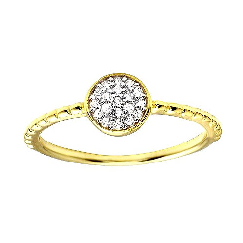 925 Gold Plated Circle Ring with CZ