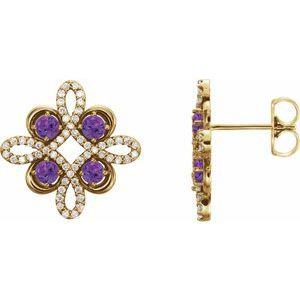 14K Yellow Amethyst & 1/4 CTW Diamond Earrings