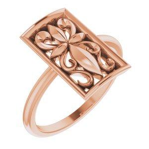 14K Rose Vintage-Inspired Cross Ring
