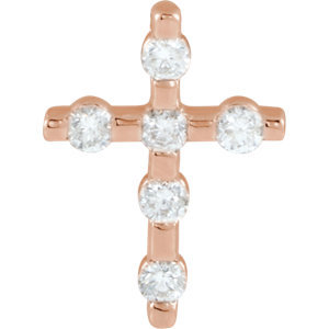 14K Rose 1/5 CTW Diamond Cross Pendant
