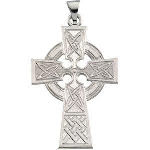 14K White Celtic-Inspired Cross Pendant
