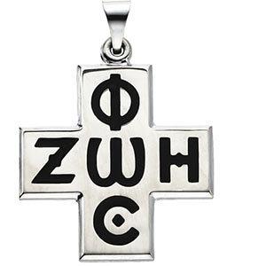 Sterling Silver 24x24 mm Phos Zoe Cross Pendant