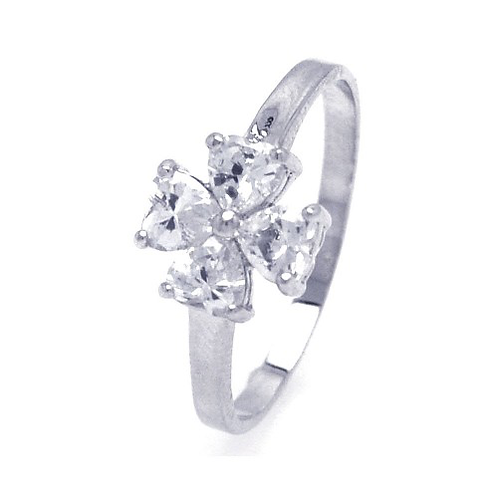 925 Rhodium Plated Clear CZ Cross Clover Ring