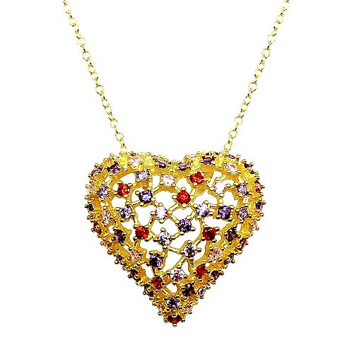 925 Gold Plated Heart Pendant with Multi-Colored CZ