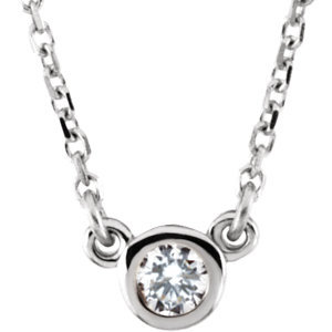 "Sterling Silver Imitation Diamond 16"" Necklace"
