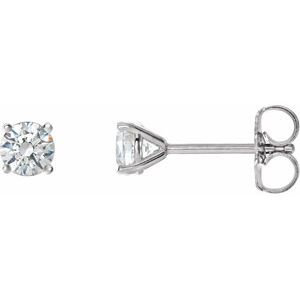 14K White 3/4 CTW Diamond 4-Prong Cocktail-Style Earrings