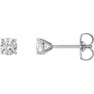 14K White 1 CTW Diamond 4-Prong Cocktail-Style Earrings