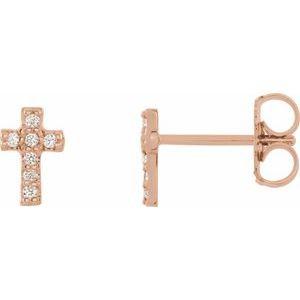 14K Rose .06 CTW Diamond Cross Pair of Earrings