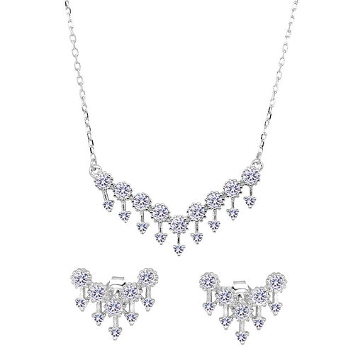 Flowers & Arrows CZ Sterling Silver Necklace & Earrings Set