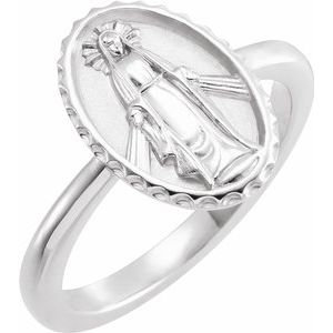 14K White Miraculous Medal Ring