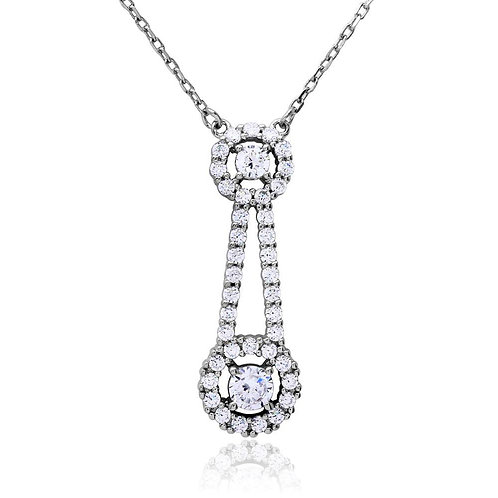 Double Halo Cubic Zirconia Sterling Silver Rhodium Plated Drop Necklace