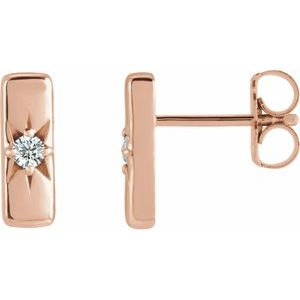 14K Rose White Sapphire Starburst Bar Earrings