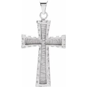 14K White 30x20 mm Cross Pendant