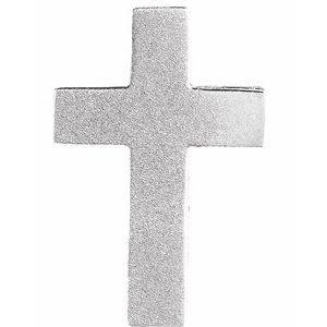 14K White 13.5x9 mm Scroll Cross Slide Pendant