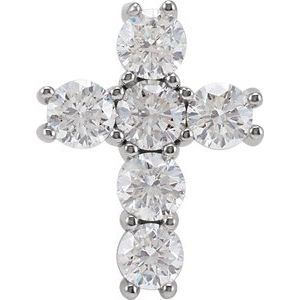 14K White 1 3/8 CTW Diamond Cross Pendant