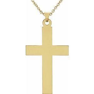 "14K Yellow 28x18 mm Cross 18"" Necklace"