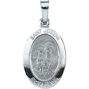 14K White 15x11 mm St. Joseph Oval Medal