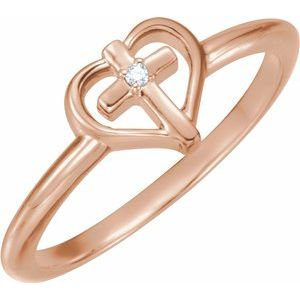 14K Rose .01 CT Diamond Cross with Heart Ring