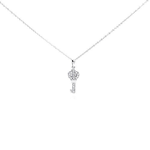 925 Clear CZ Rhodium Plated Small Key Pendant Necklace
