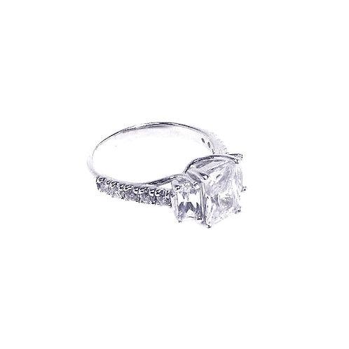 925 Rhodium Plated Micro Pave CZ Past Present Future Ring