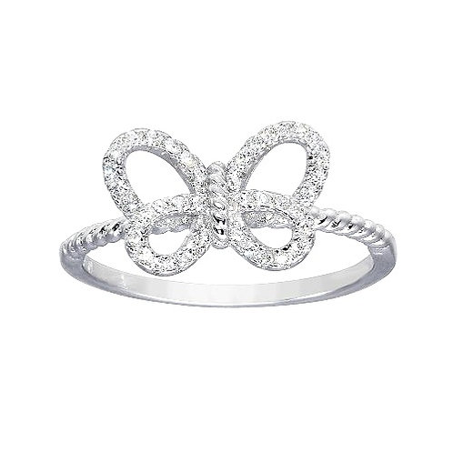 925 Sterling Silver Rhodium Plated Open Butterfly Ring