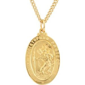 "24K Gold-Plated Sterling Silver 29x19 mm St. Christopher Medal 24"" Necklace"