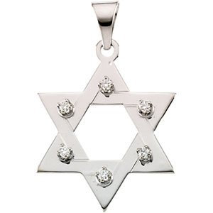 14K White 1/5 CTW Diamond Star of David Pendant