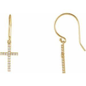 14K Yellow 1/6 CTW Diamond Cross Earrings