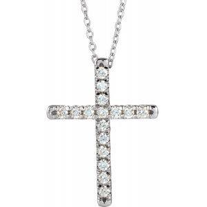 14K White 1/3 CTW Diamond French-Set Cross Necklace
