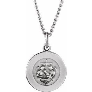 "Sterling Silver 12 mm Baptism Medal 18"" Necklace"