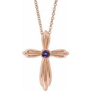 "14K Rose Amethyst Cross 16-18"" Necklace"