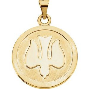 14K Yellow 23 mm Holy Spirit (Dove) Medal