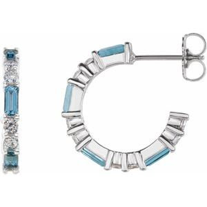 14K White Aquamarine & 1/2 CTW Diamond Earrings