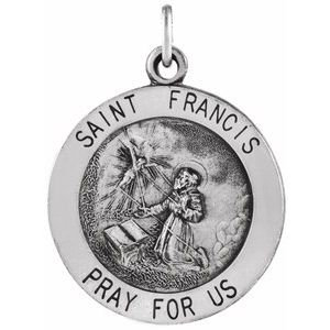 Sterling Silver 18.25 mm Round St. Francis of Assisi Medal Necklace
