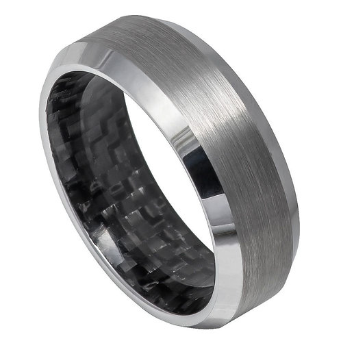 Black Carbon Fiber Inlay Inside, Polished Shiny Beveled Edge – 8mmge – 8mm