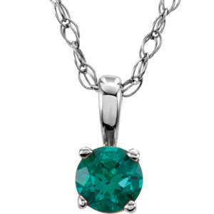 """Sterling Silver Imitation Emerald """"May"""" Birthstone 14"""" Necklace"""
