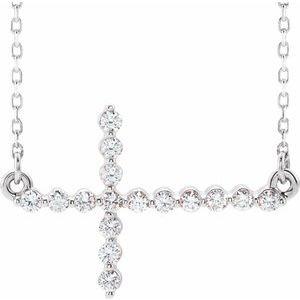 """14K White 1/3 CTW Diamond Sideways Cross 16-18"""" Necklace"""