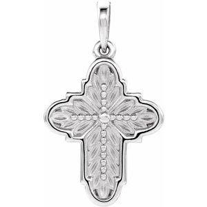 14K White 19x13.7 mm Ornate Leaf Cross Pendant