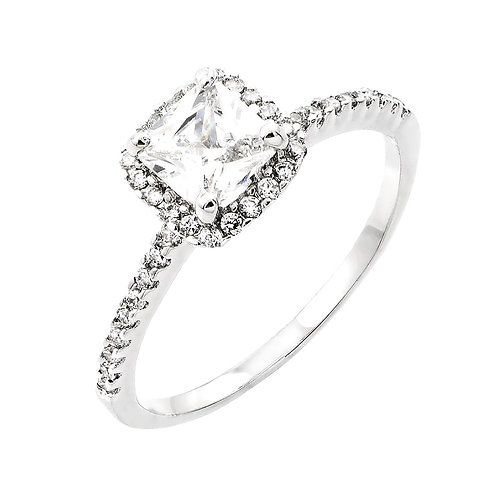 Princess Cut Center Cubic Zirconia Sterling Silver Engagement Ring