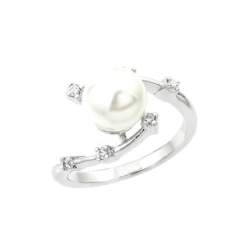 White Synthetic Pearl Cubic Zirconia bypass Ring