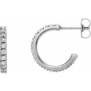 14K White 5/8 CTW Diamond French-Set 15 mm Hoop Earrings