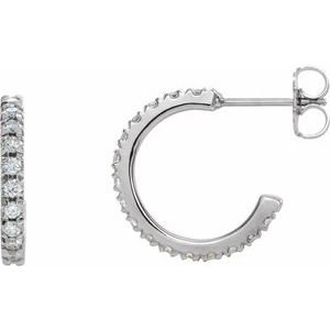 14K White 5/8 CTW Lab-Grown Diamond French-Set 15 mm Hoop Earrings