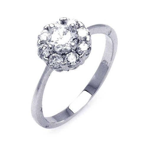925 Rhodium Plated Clear Cluster CZ Flower Ring
