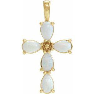 14K Yellow Cabochon White Opal Cross Pendant